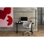Hem Kendo swivel chair w/ castors, porcelain - polished aluminium
