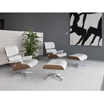 Vitra Eames Lounge Chair, new size, white walnut - white leather