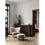 &Tradition Little Petra lounge chair and pouf, Moonlight sheepskin - walnut