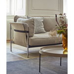 Hay Can sofa, 3-seater, Linara 311 - natural canvas - chrome frame