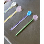 Hay Glass spoons Twist, 2 pcs, turquoise and light pink