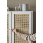 Lundia Classic cabinet w/ rattan doors, 84 x 149 cm, white lacquered
