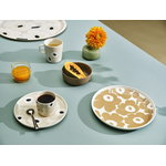Marimekko Oiva - Unikko lautanen 25 cm, valkoinen - beige