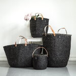 Mifuko Kiondo basket with handles L, black