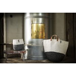 Mifuko Kiondo basket with handles L, white - black
