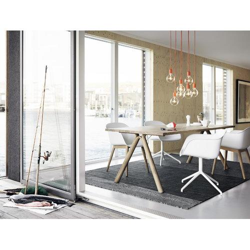 Muuto Fiber armchair, wood base, white/oak