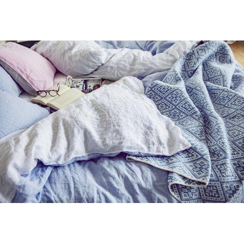 Lang� Tyynyliina, pellava, vaaleansininen-valkoinen