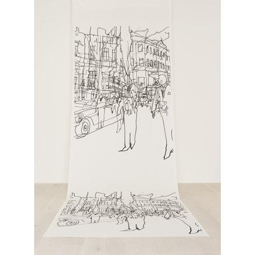 Marimekko Hetki� fabric, white-black