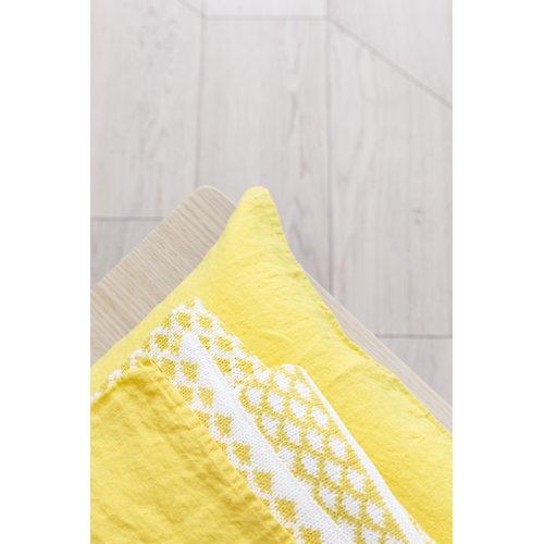 Lang� Tyynyliina, pellava, keltainen-valkoinen