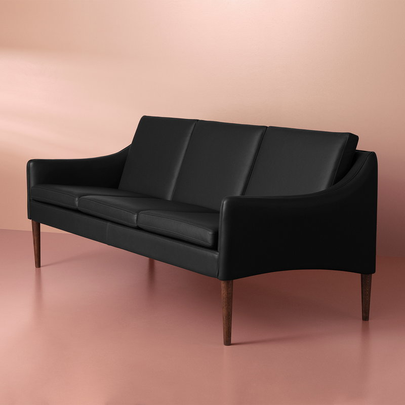 Mr Olsen sofa, 3-seater, walnut - black leather