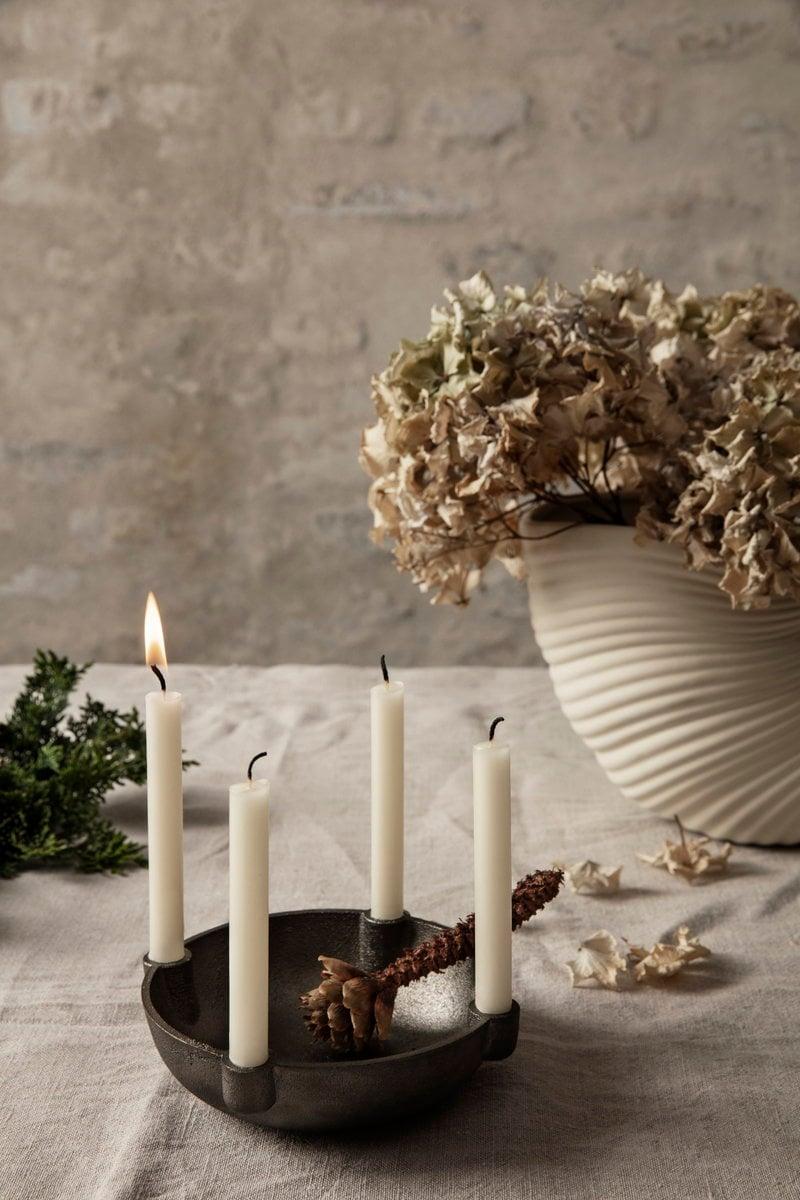 Ferm Living Bowl Candle Holder Small Black Brass Finnish Design Shop
