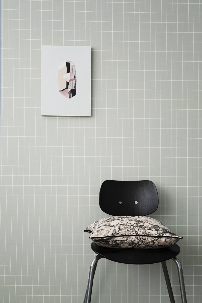ferm living grid wallpaper dusty green finnish design shop. Black Bedroom Furniture Sets. Home Design Ideas