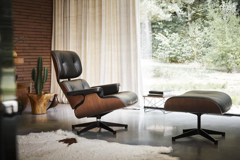 Surprising Vitra Eames Lounge Chair New Size American Cherry Black Theyellowbook Wood Chair Design Ideas Theyellowbookinfo