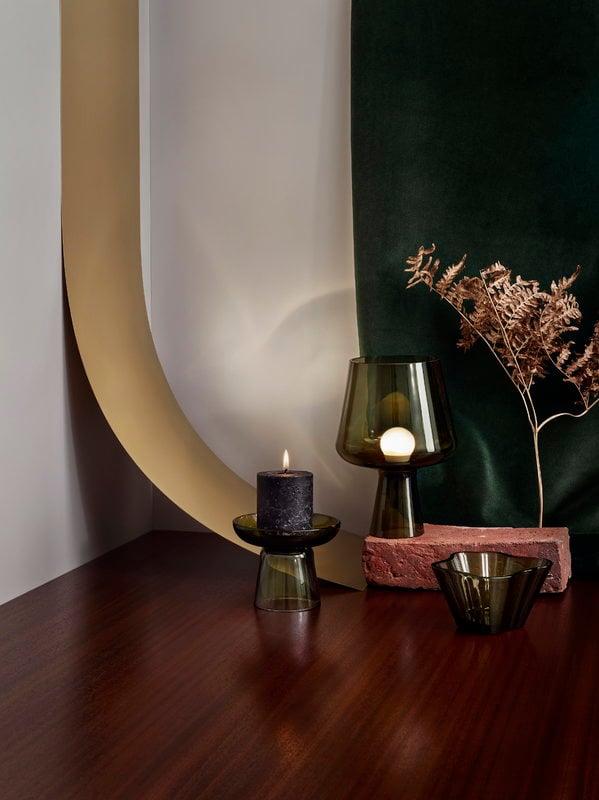 Iittala lampada da tavolo leimu 24 cm verde muschio - Lampada da tavolo verde ...