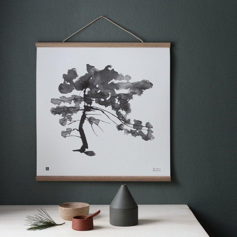 teemu j rvi illustrations pine tree poster 50 x 50 cm finnish design shop. Black Bedroom Furniture Sets. Home Design Ideas