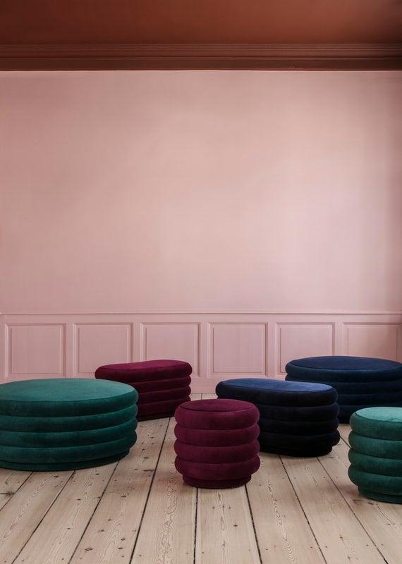 Ferm Living Pouf Round, small, bordeaux | Finnish Design Shop