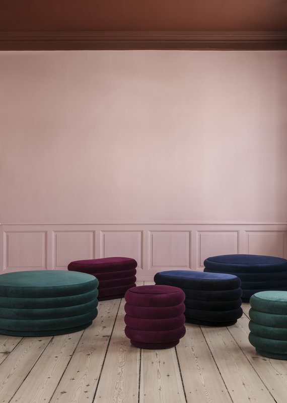 Ferm Living Pouf Oval, medium, dark blue | Finnish Design Shop