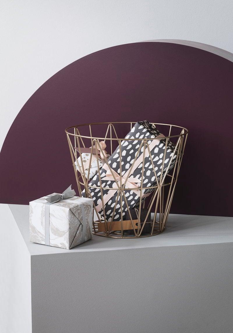 ferm living wire basket brass medium finnish design shop. Black Bedroom Furniture Sets. Home Design Ideas