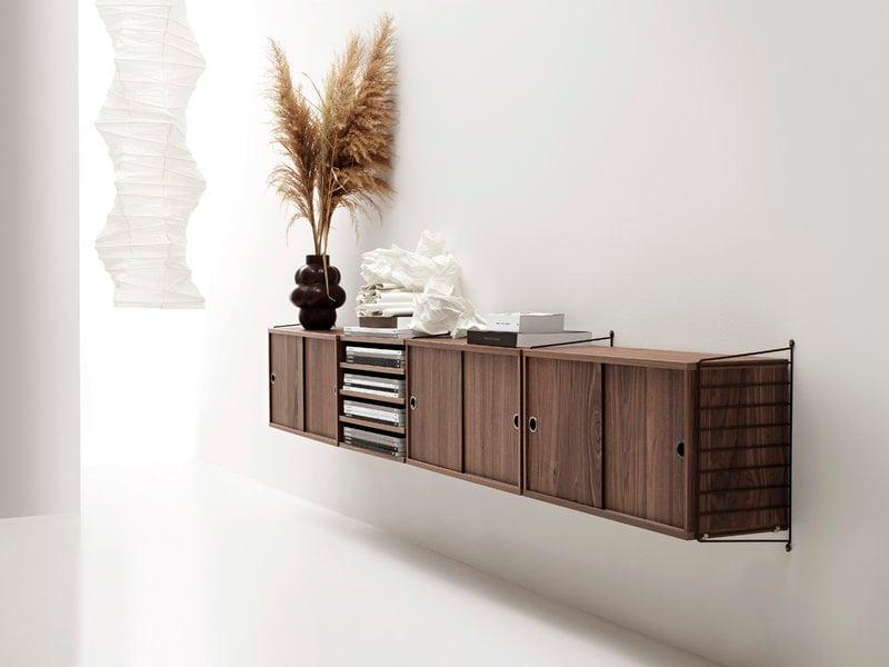 furniture shelves shelving units string shelf 3pack walnut p