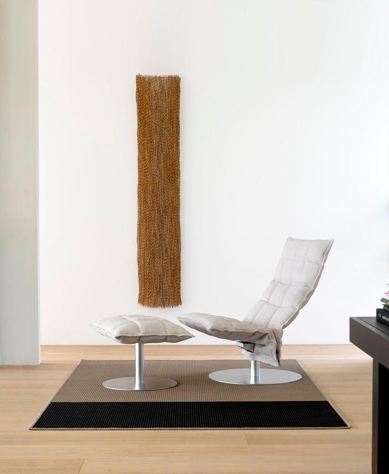 K Chair, Swivel Base, Narrow, Stone/white