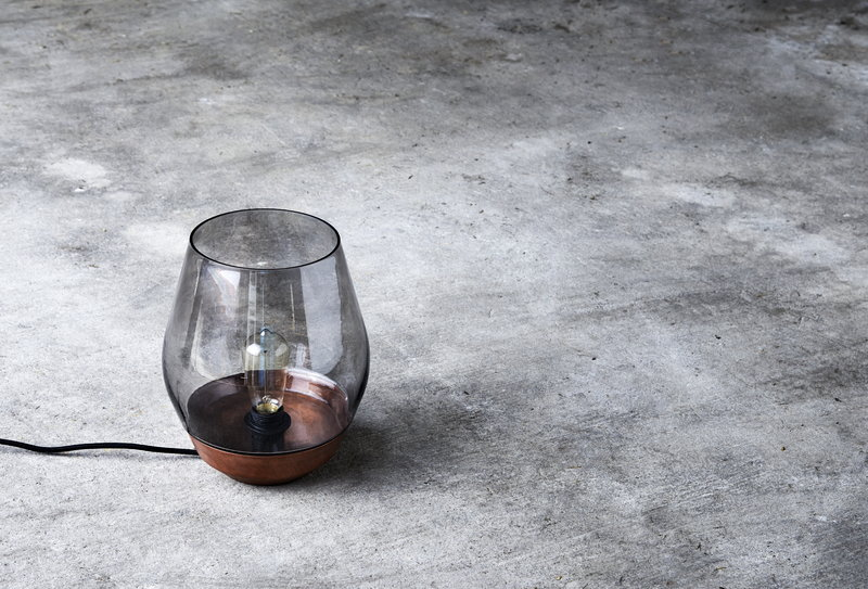 New Works Bowl Table Lamp Raw Copper Light Smoked Glass Finnish