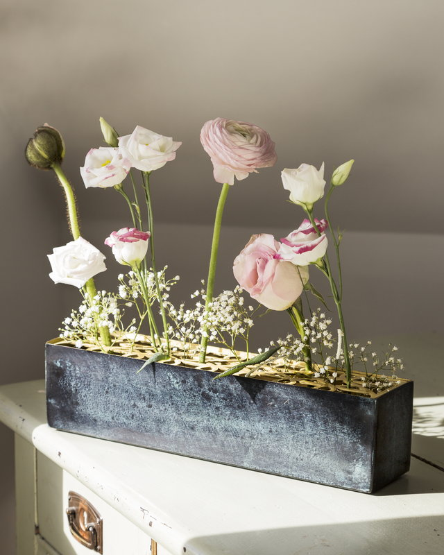 Objets d/'Art Glass Flower Vase Blue Marble Effect 32cm