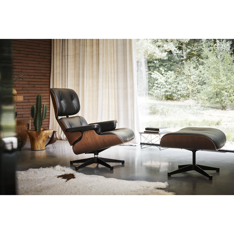 Awe Inspiring Eames Lounge Chair New Size American Cherry Black Leather Inzonedesignstudio Interior Chair Design Inzonedesignstudiocom