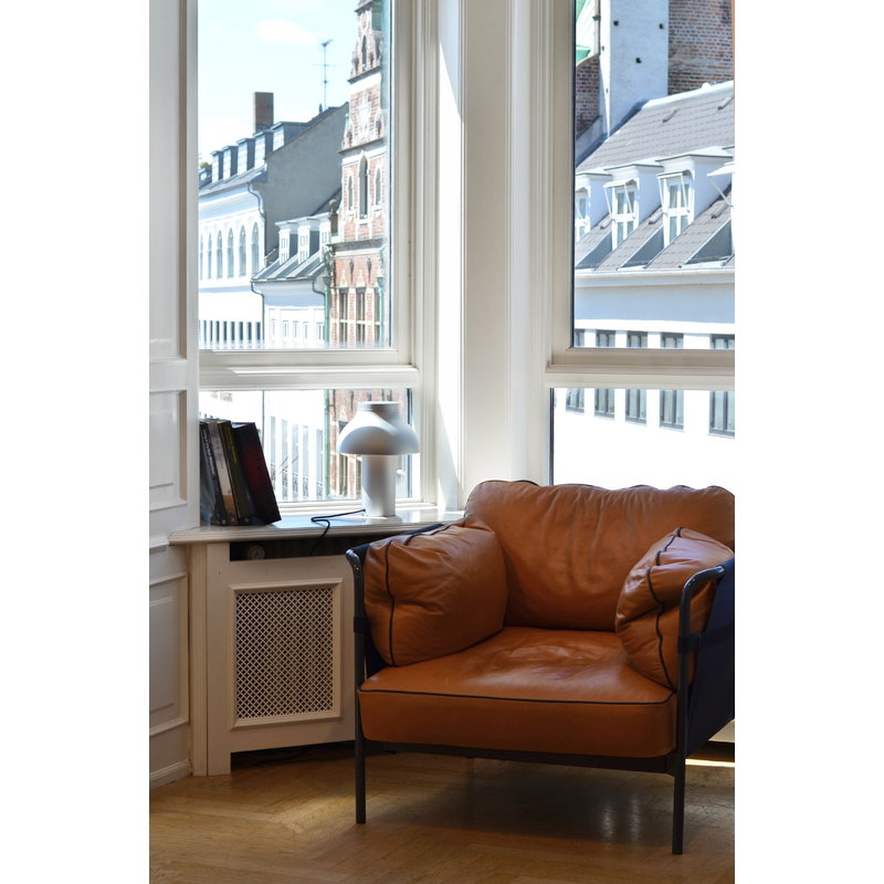 Tremendous Hay Can Lounge Chair Cognac Leather Black Canvas Chrome Pabps2019 Chair Design Images Pabps2019Com