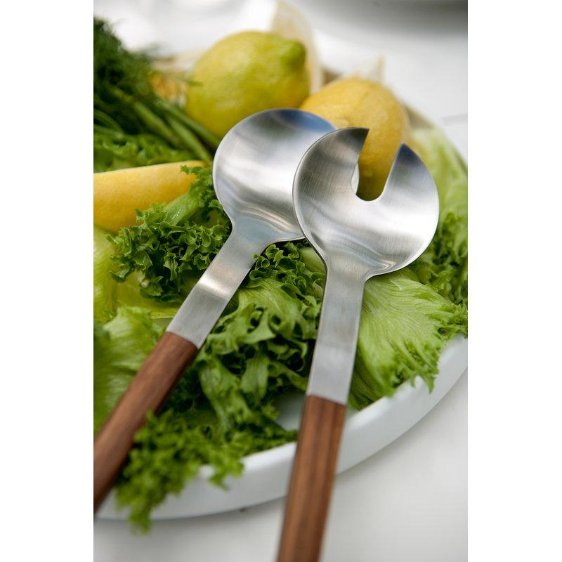 Skagerak posate da insalata nordic teak acciaio - Posate da portata ...