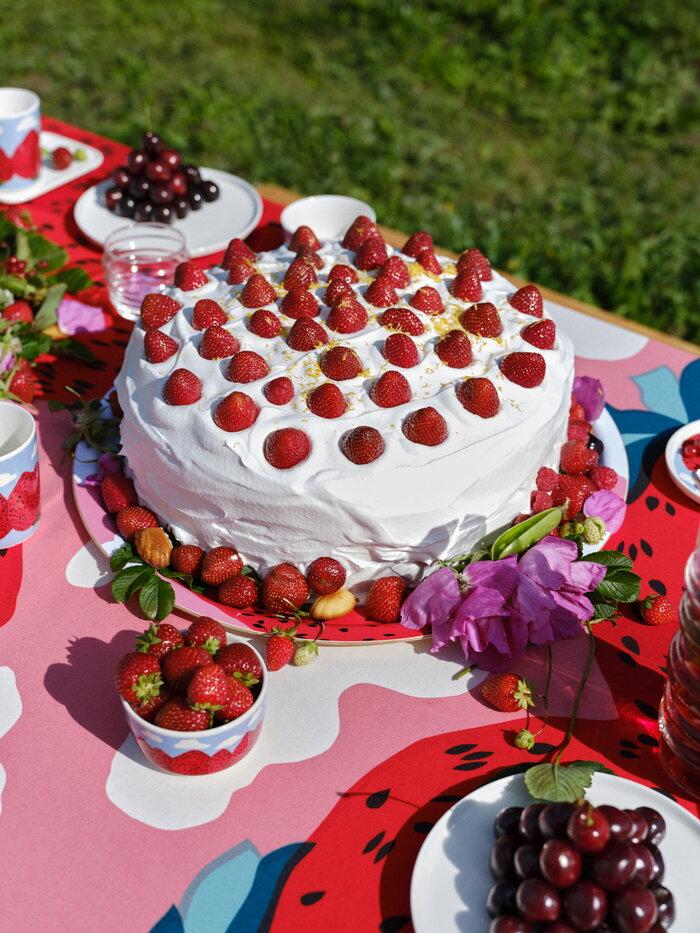 Tablesetting Summer Marimekko Light red Multi colour Cotton Ceramic