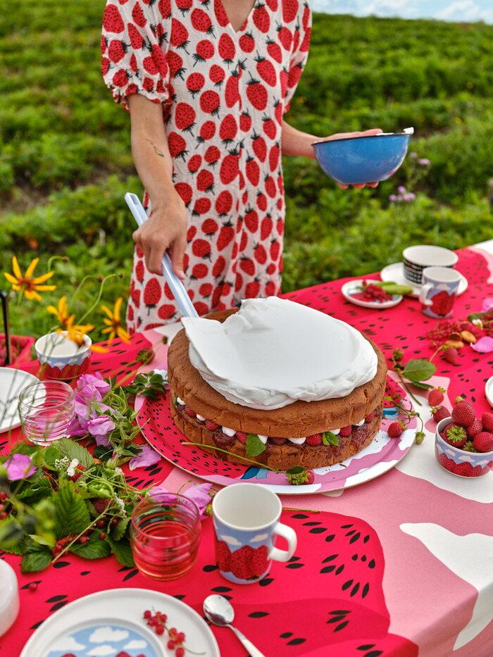 Kattaus Summer Marimekko Vaaleanpunainen Monivärinen Puuvilla Keramiikka
