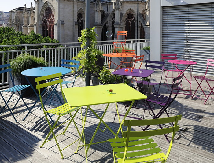 Outdoorfurniture Publicspaces Terrace Fermob Turquoise Light red Orange Green Grey Steel Bistro
