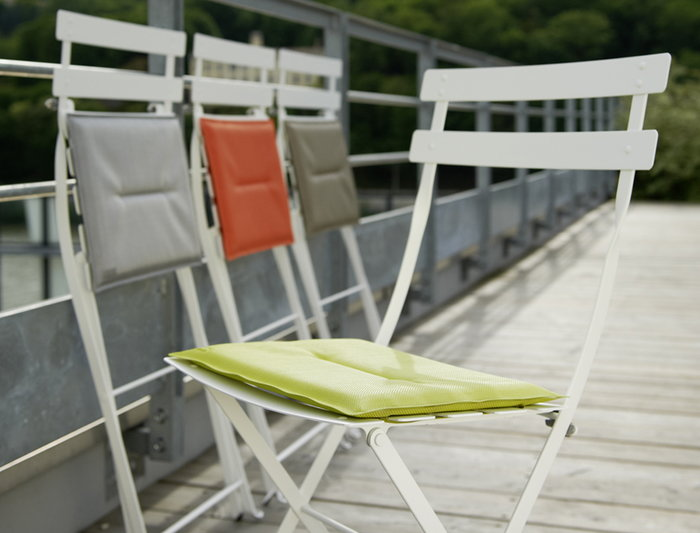 Details Outdoorfurniture Terrace Summer living Fermob White Orange Green Grey Steel Plastic Bistro