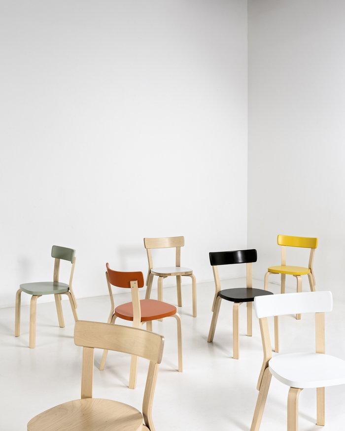 Sisustusyksityiskohta Luonnonväri Valkoinen Musta Keltainen Oranssi Koivu Aalto tuolit