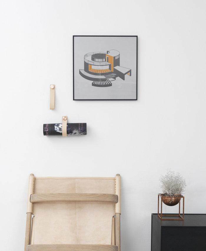 Sisustusyksityiskohta By Lassen Kupari Musta Luonnonväri Alumiini Nahka Kubus Illustrate Stropp Saxe