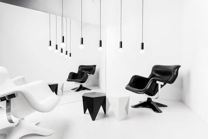 Olohuoneet Vitra Artek Musta Valkoinen Alumiini Nahka Metalli Karuselli