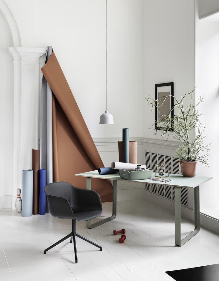 Työpisteet Viherkasvit Muuto Vihreä Valkoinen Harmaa Huopa Komposiitti 70/70 Restore Fiber Chair Grain