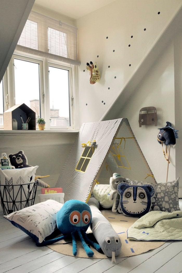 Childrensroom Ferm Living Blue Black Nature Mint green Oak Metal Cotton Studio