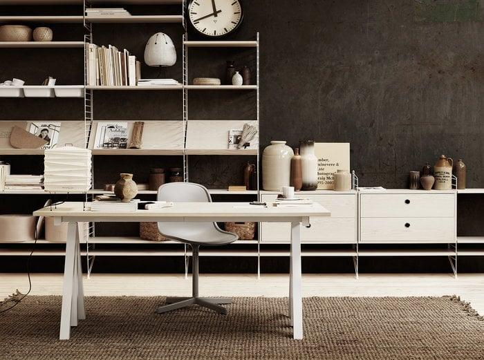 Työpisteet Säilytys Sisustusideat Vitra String Furniture Valkoinen Luonnonväri Paperi Muovi Saarni String System String Works