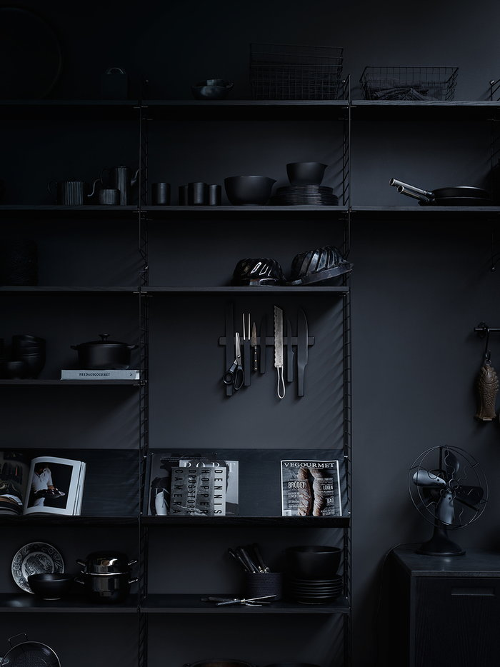 Kitchen Storage Decorationideas String Furniture Black Steel Ash String System