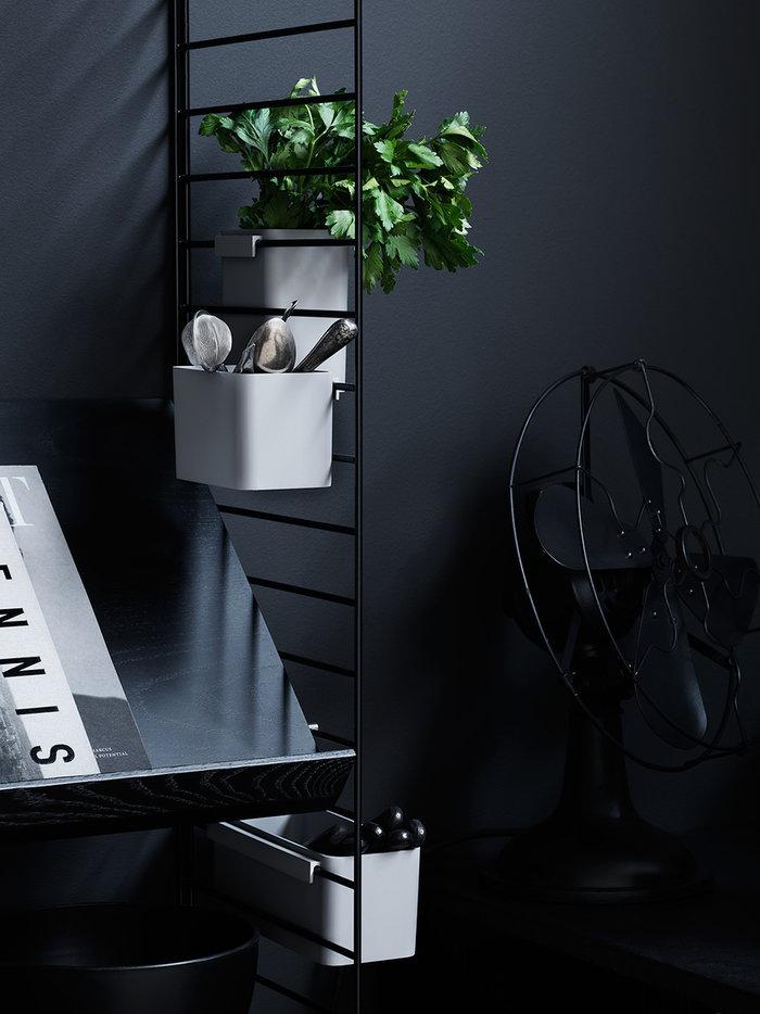 Cucina Gestionespazio Dettaglioarredamento String Furniture Nero Bianco Acciaio String System