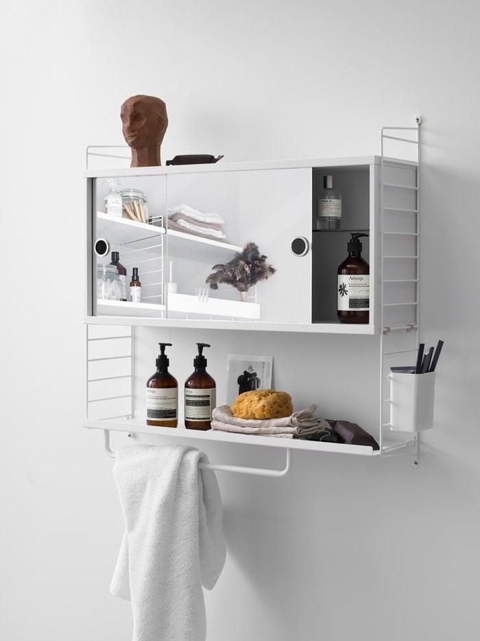 Säilytys Kylpyhuone String Furniture Valkoinen Teräs Metalli String System