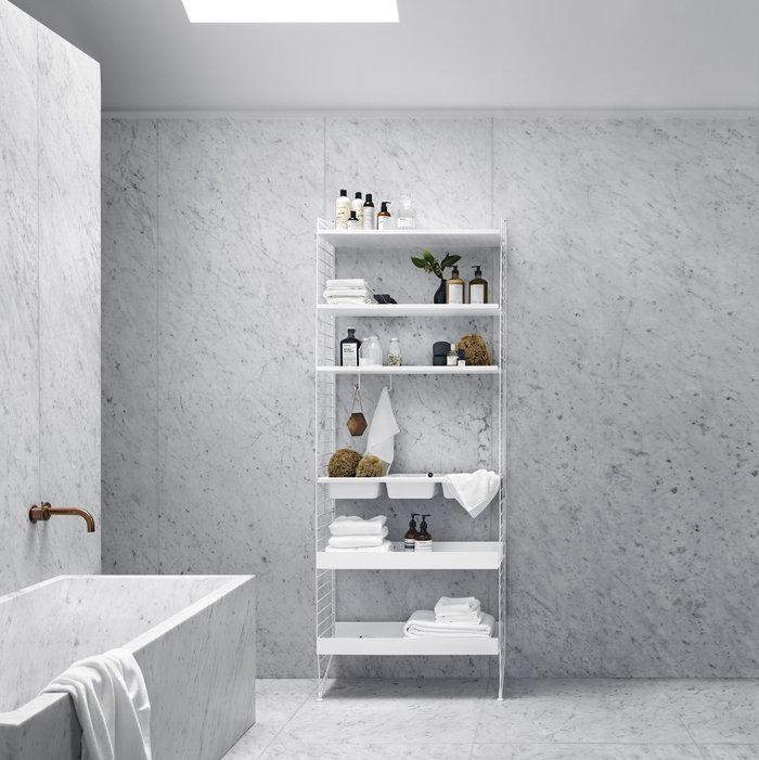 Säilytys Kylpyhuone String Furniture Valkoinen Teräs Muovi Metalli String System