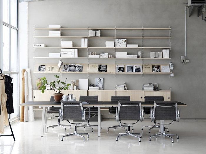 Työpisteet String Furniture Valkoinen Luonnonväri Teräs Koivu String System String Works