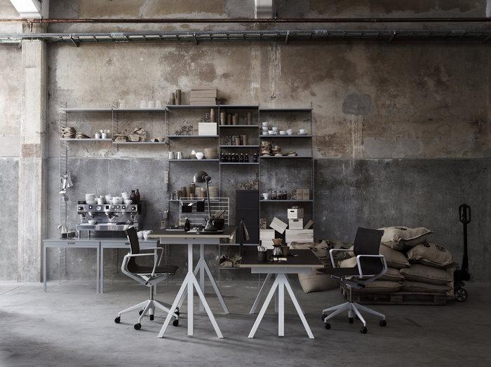 Työpisteet String Furniture Harmaa Valkoinen Teräs String System String Works