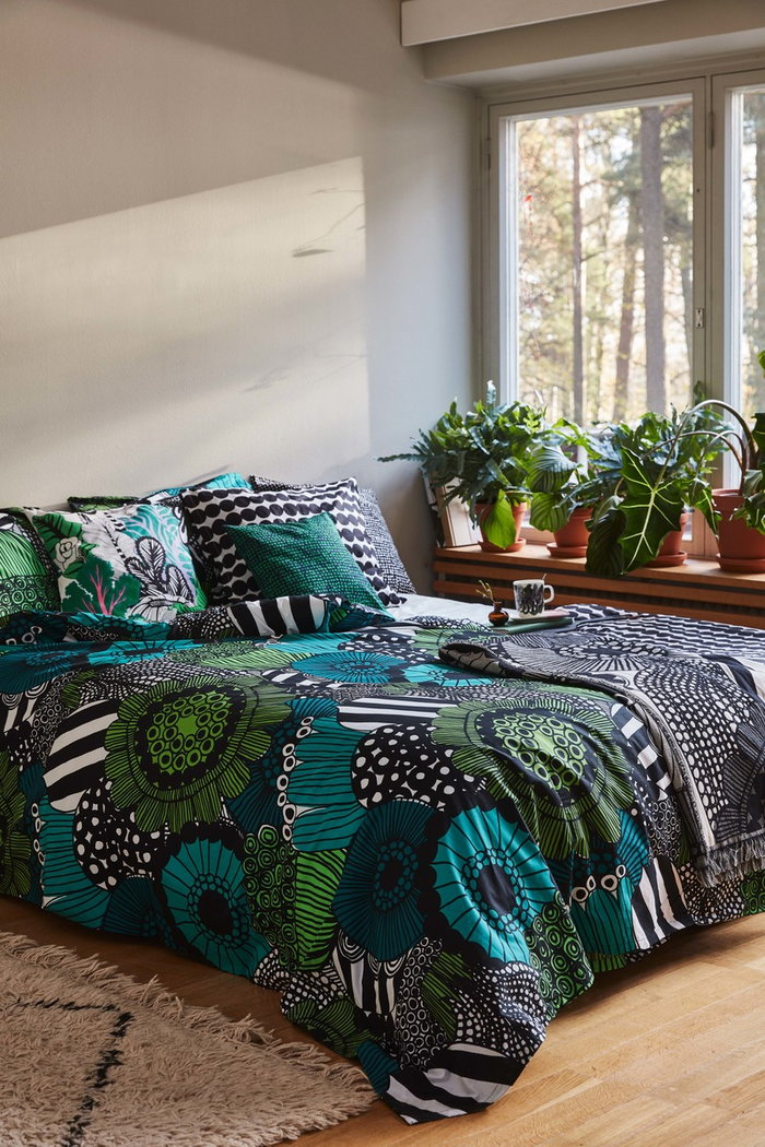 Bedroom Marimekko Green Black Cotton Wool