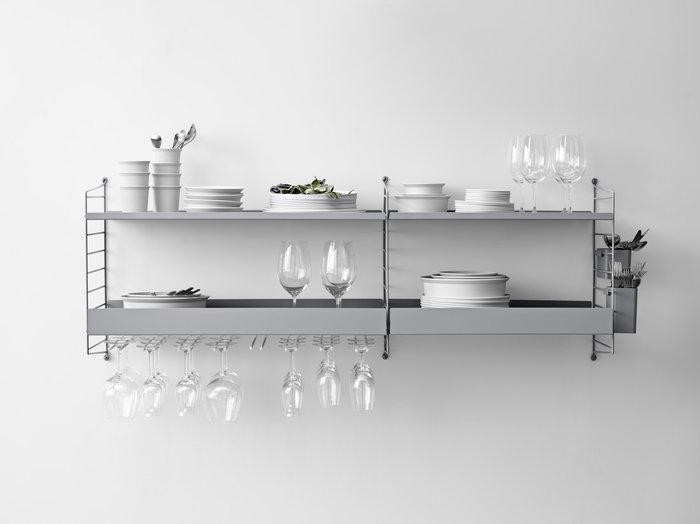 Keittiö Säilytys String Furniture Harmaa Valkoinen Musta Muovi Metalli Teräs String System