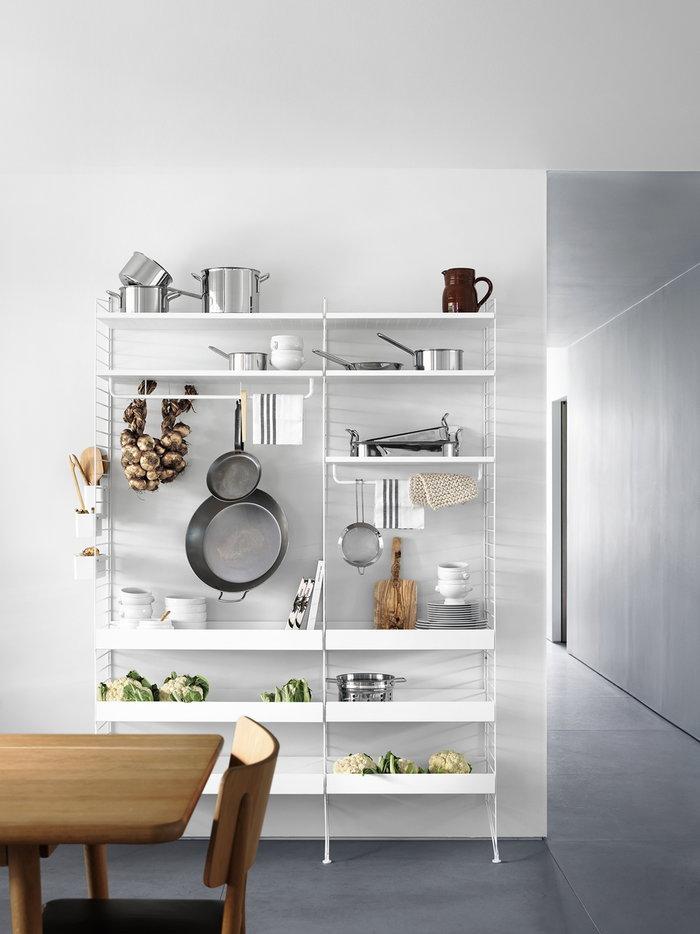 Keittiö Säilytys String Furniture Valkoinen Teräs Metalli String System