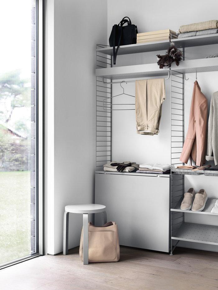 Säilytys Eteinen Artek String Furniture Harmaa Teräs Huopa Puu Metalli String System