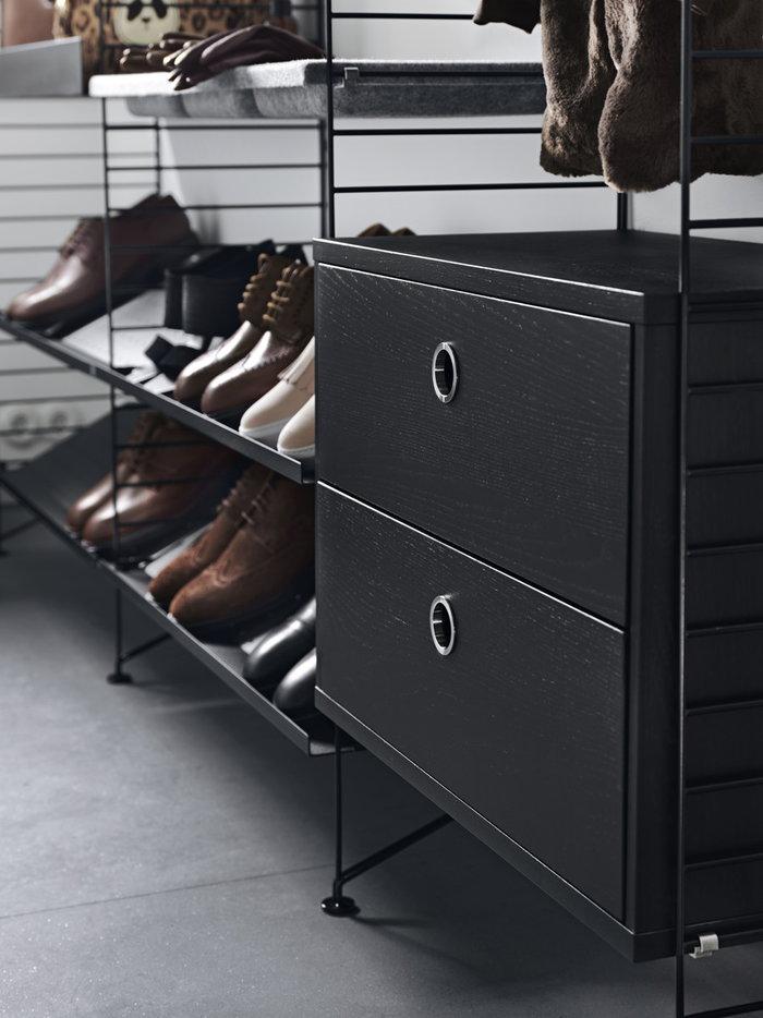Säilytys String Furniture Musta Harmaa Teräs Huopa Metalli String System